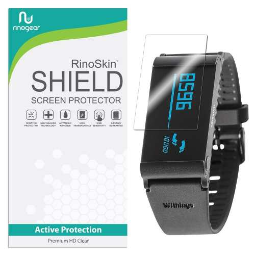 [6-PACK] RinoGear for withings Pulse Ox / O2 Screen Protector [Active Protection] Full Coverage Flexible HD Invisible Clear Shield Anti-Bubble