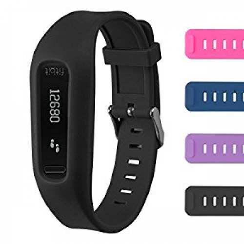 Buckle Bracelet for Fitbit One - Adjustable Wristband and Wristwatch Style - Fitbit One Silicone Replacement Secure Band with Chrome...